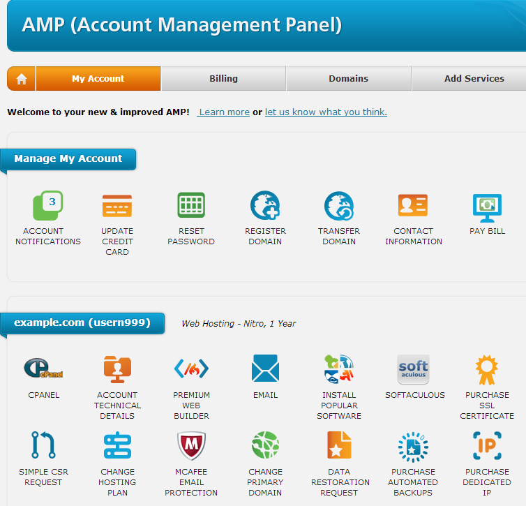 web hosting hub amp-account-management-panel